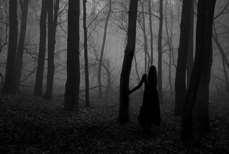 Рассказ Черный человек, фото - девушка в туманном лесу